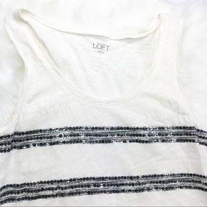 LOFT | Sequin Striped Tank